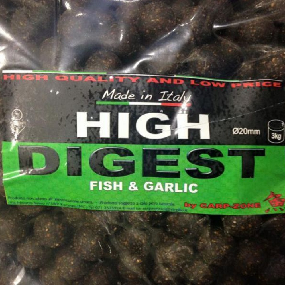 CARP ZONE HIGH DIGEST FISH GARLIC 20 MM 3 KG EL CARPODROMO