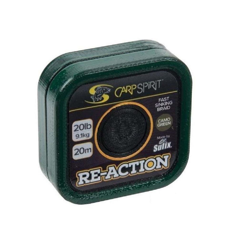 CARPSPIRIT RE ACTION FAST SINKING BRAID 35lb 20m CAMO GREEN ELCARPODROMO COM 1 ml