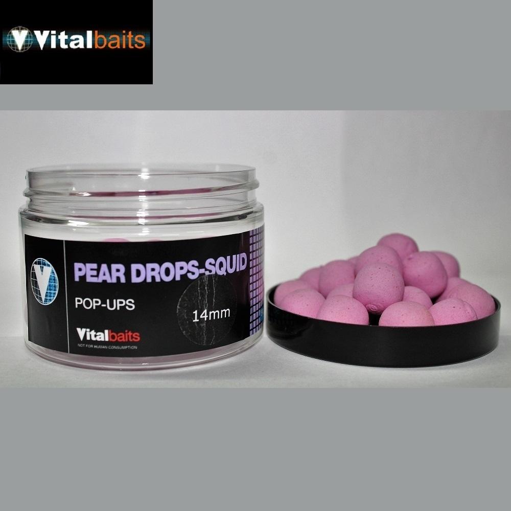 VITALBAITS PEAR DROPS SQUID POP UPS 14MM el carpodromo